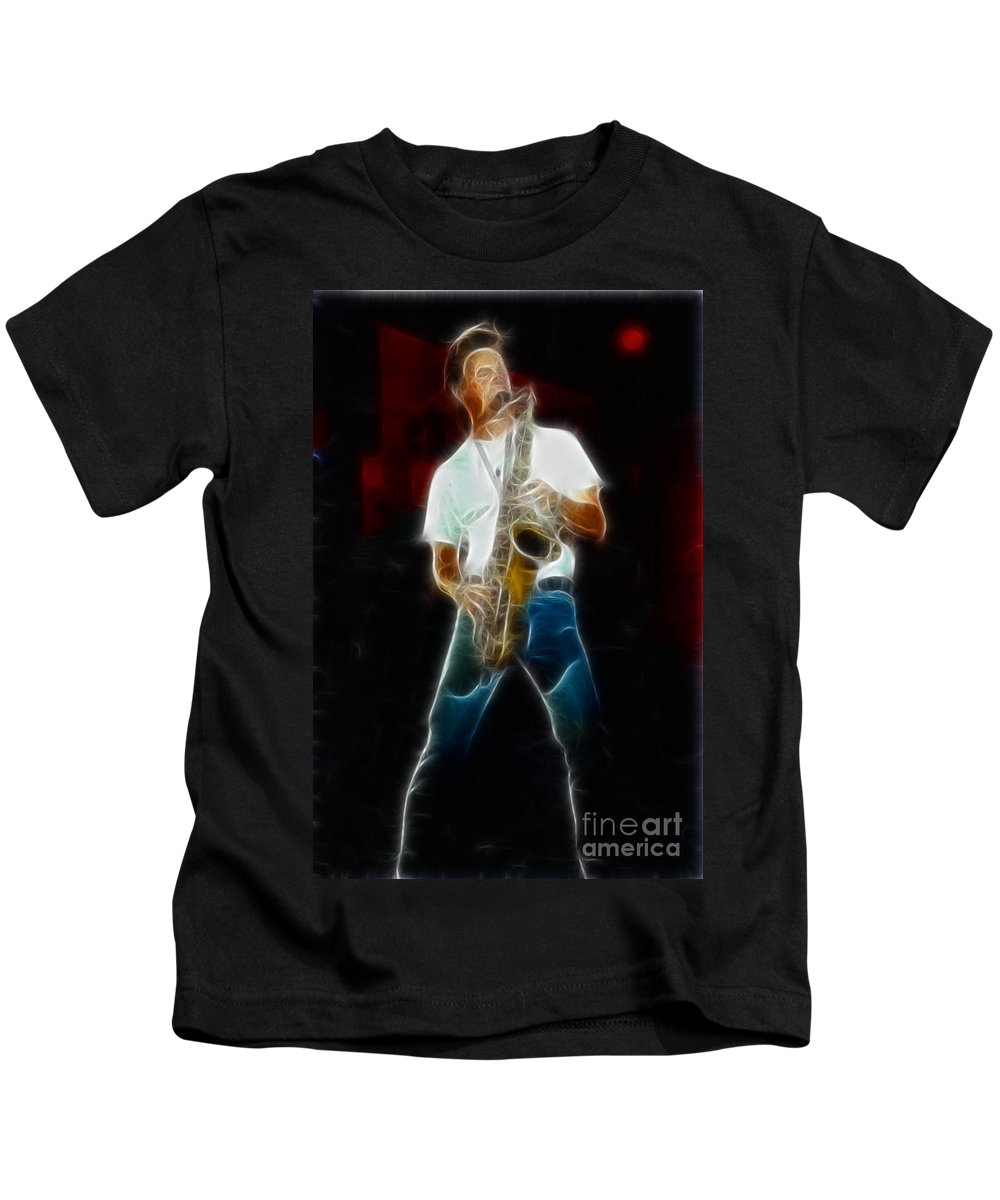 Huey Lewis Kids T-Shirt featuring the photograph Huey Lewis--johnny-ge2a-fractal by Gary Gingrich Galleries