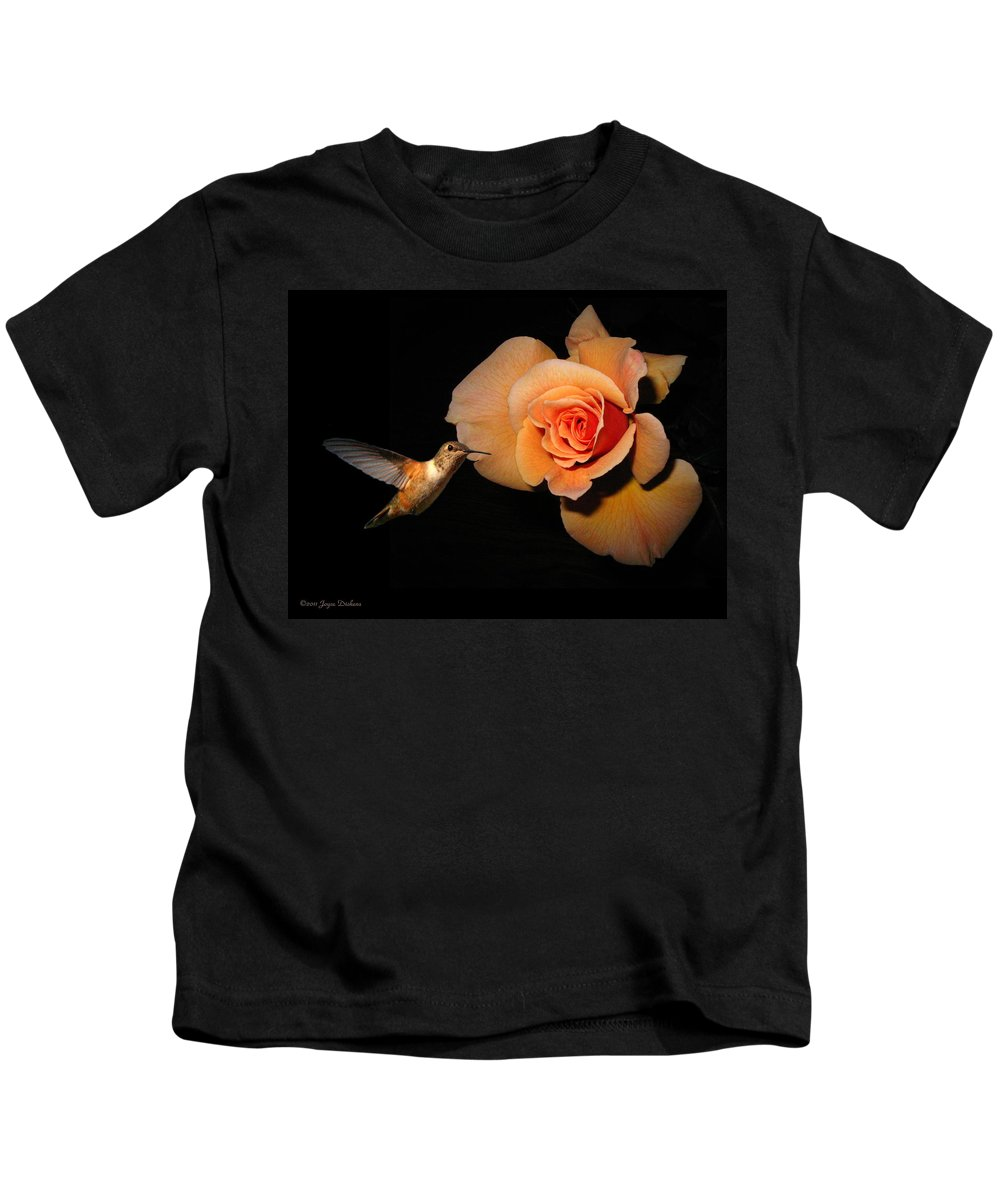 Bird Kids T-Shirt featuring the photograph Hummingbird And Orange Rose by Joyce Dickens