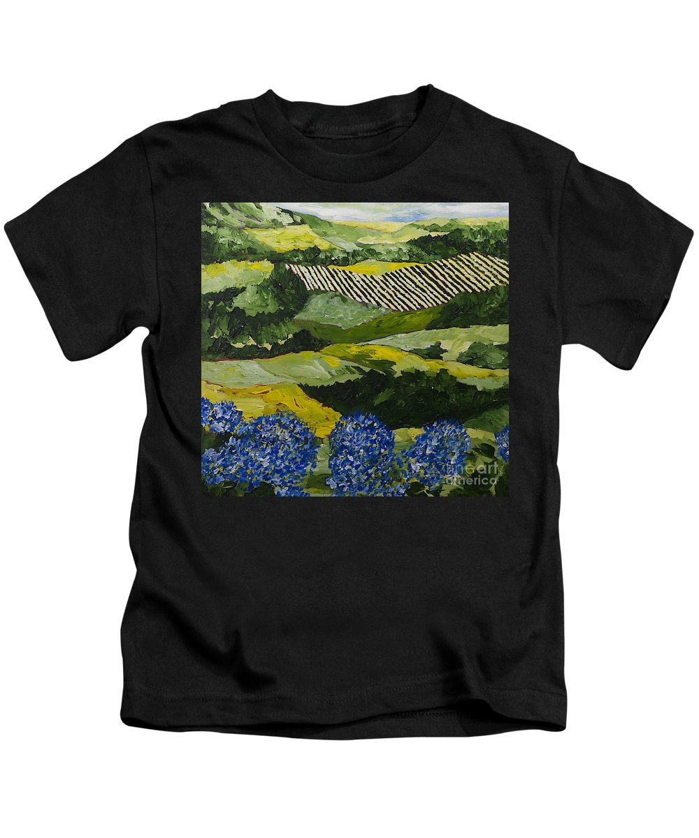 Landscape Kids T-Shirt featuring the painting Hydrangea Valley by Allan P Friedlander