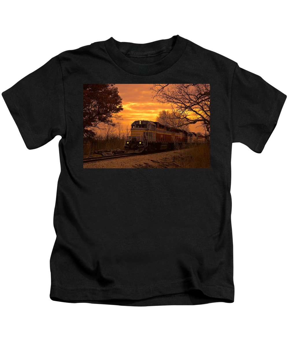 Train Kids T-Shirt featuring the digital art I Hear The Train A Comin by Bonfire Photography