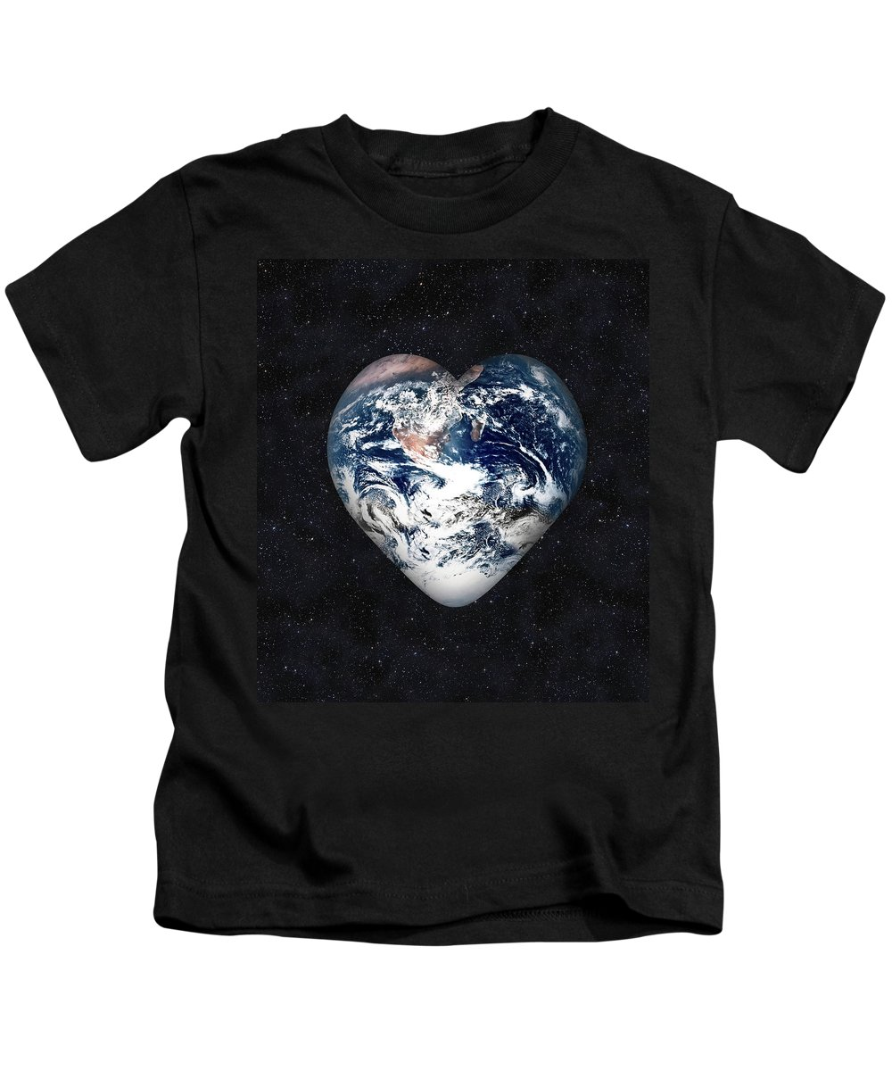Earth Kids T-Shirt featuring the digital art I Love Earth by Gravityx9 Designs