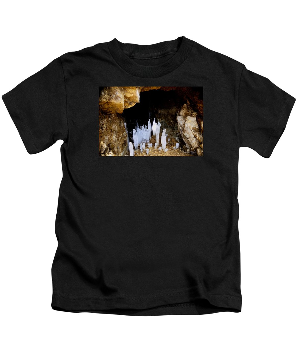 Cave Ice Winter Icicles Nature Zen Simple Colorado Rocky Mountains Kids T-Shirt featuring the photograph Ice In A Cave by George Tuffy