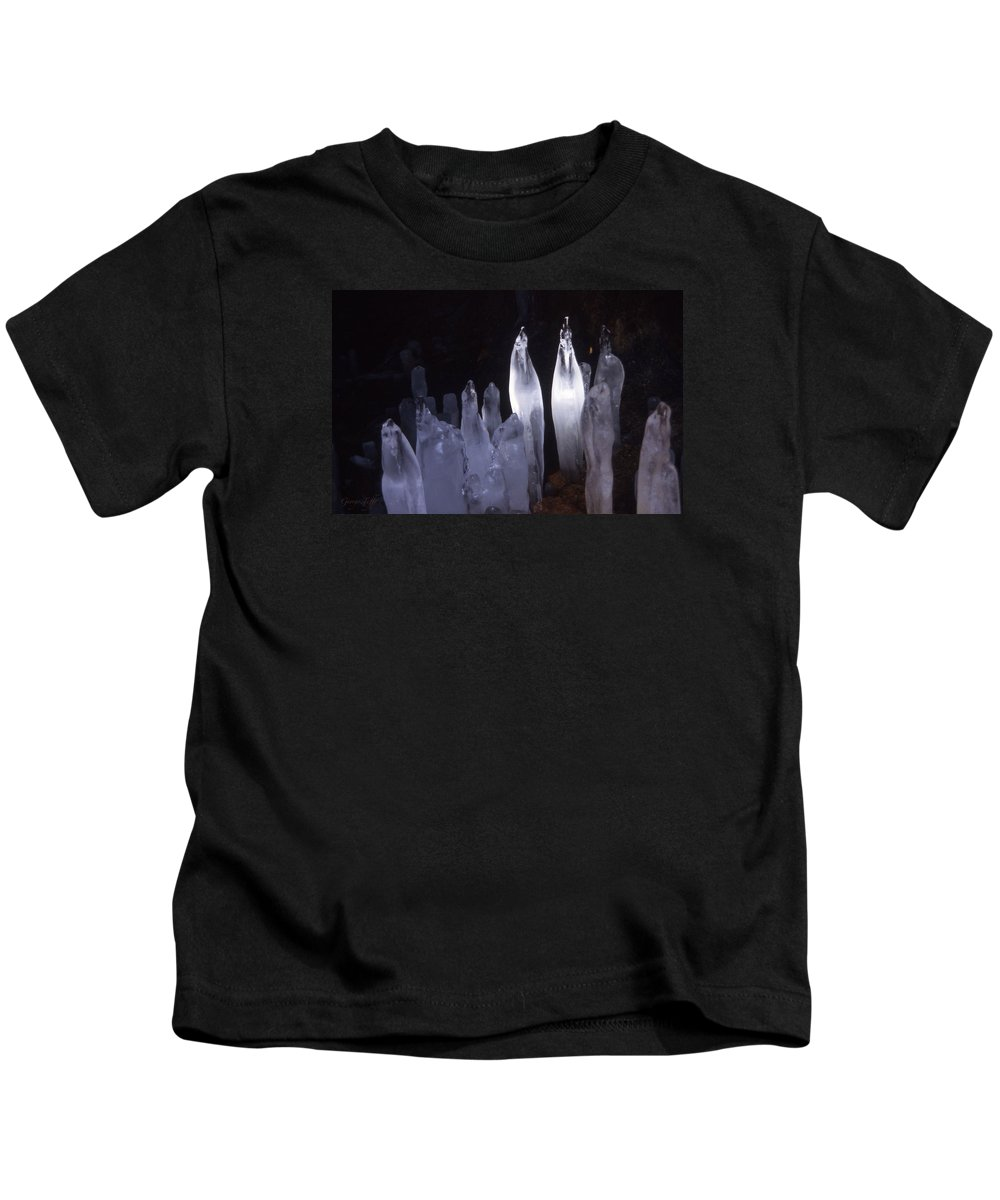 Icicles Cave Winter Nature Simple Zen Colorado Rocky Mountains Winter Kids T-Shirt featuring the photograph Icicles In A Cave by George Tuffy