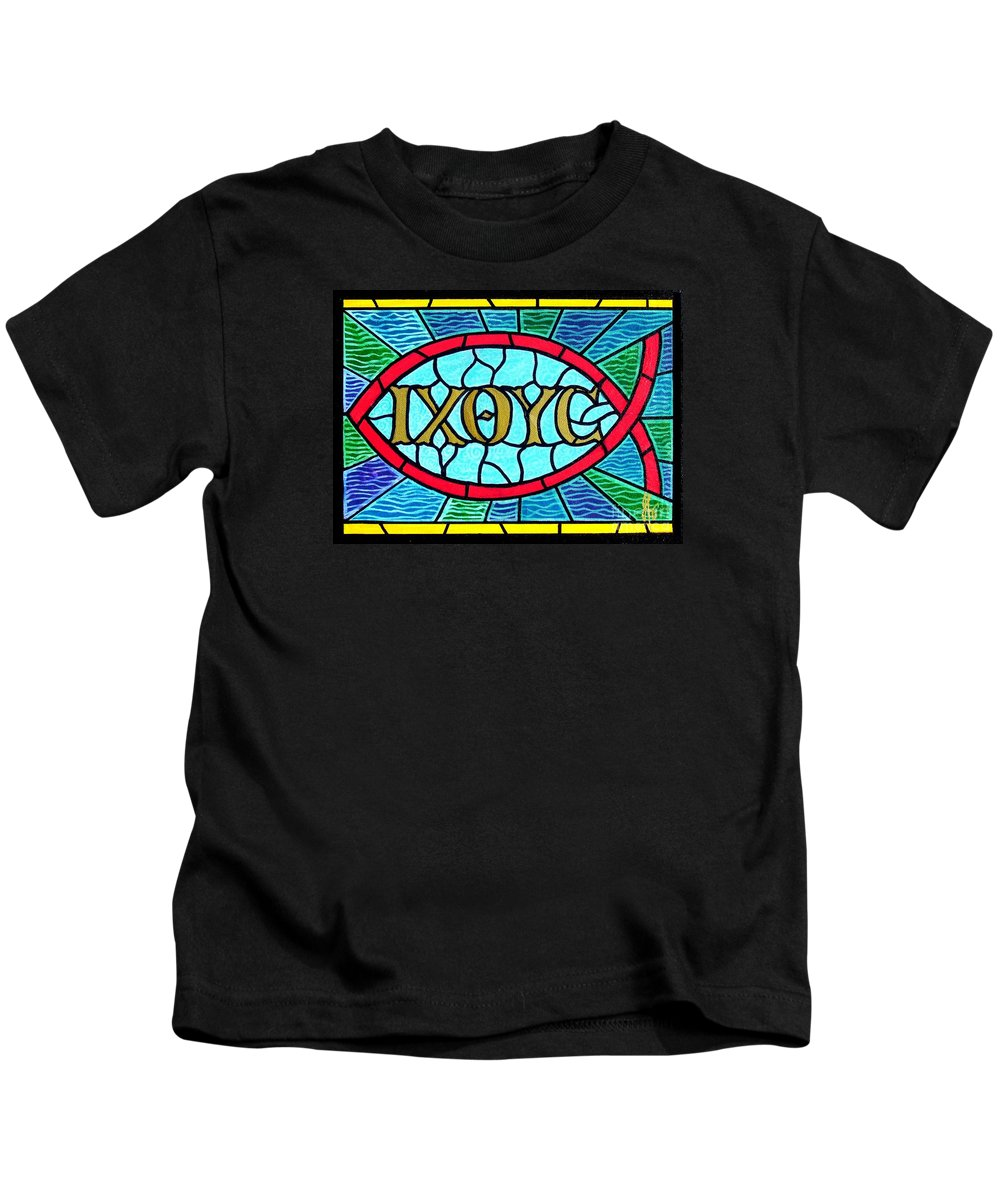 Church Kids T-Shirt featuring the painting Icthus Sign Of The Fish by Jim Harris
