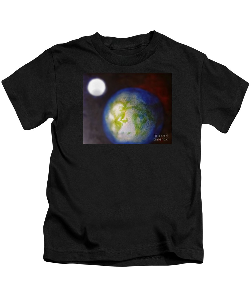 Earth Kids T-Shirt featuring the painting If Land Were Like Clouds In The Sky by Jennifer Rose Hill