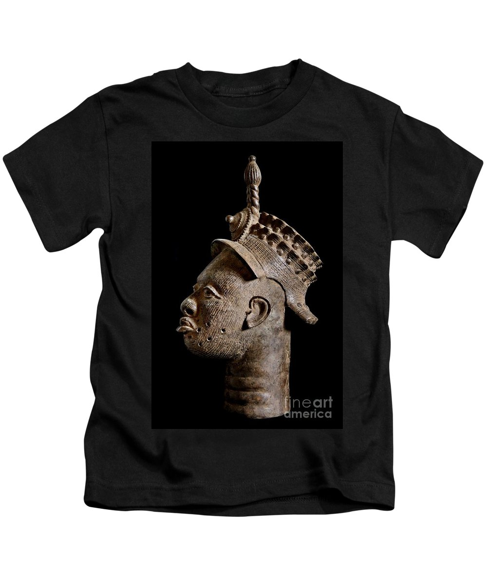 Ife Kids T-Shirt featuring the photograph Ife Bronze Royal Head Portrait by PhotoClique