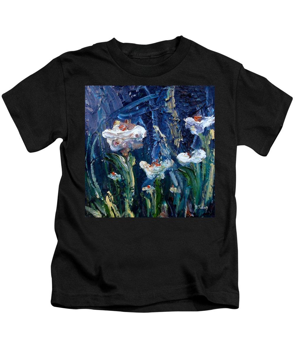 Impasto Kids T-Shirt featuring the painting Impasto Daisies by Donna Tuten