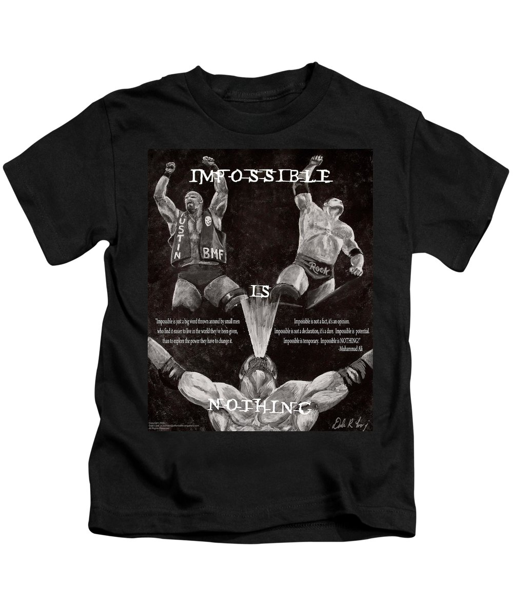 Wwe Kids T-Shirt featuring the painting Impossible Is Nothing by Dale Loos Jr