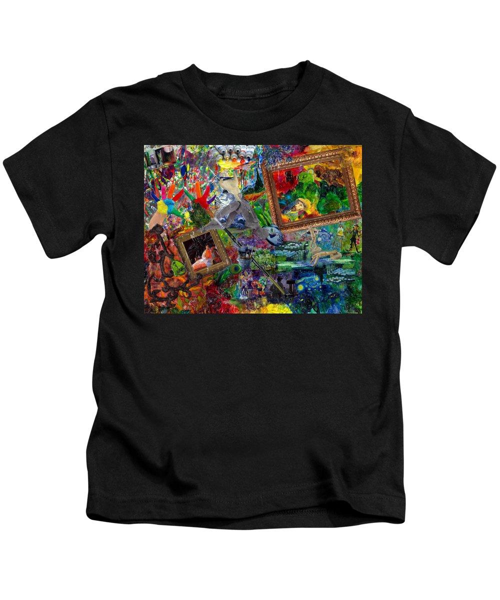 Mixed Media Kids T-Shirt featuring the mixed media Impressions by Paula Emery