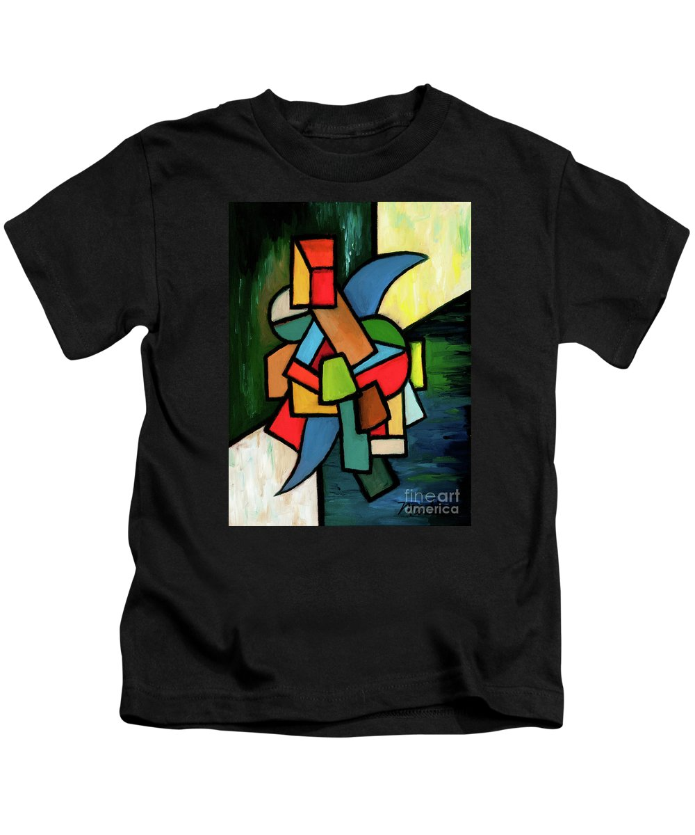 Stained Glass Kids T-Shirt featuring the painting In The Beginning by Larry Martin
