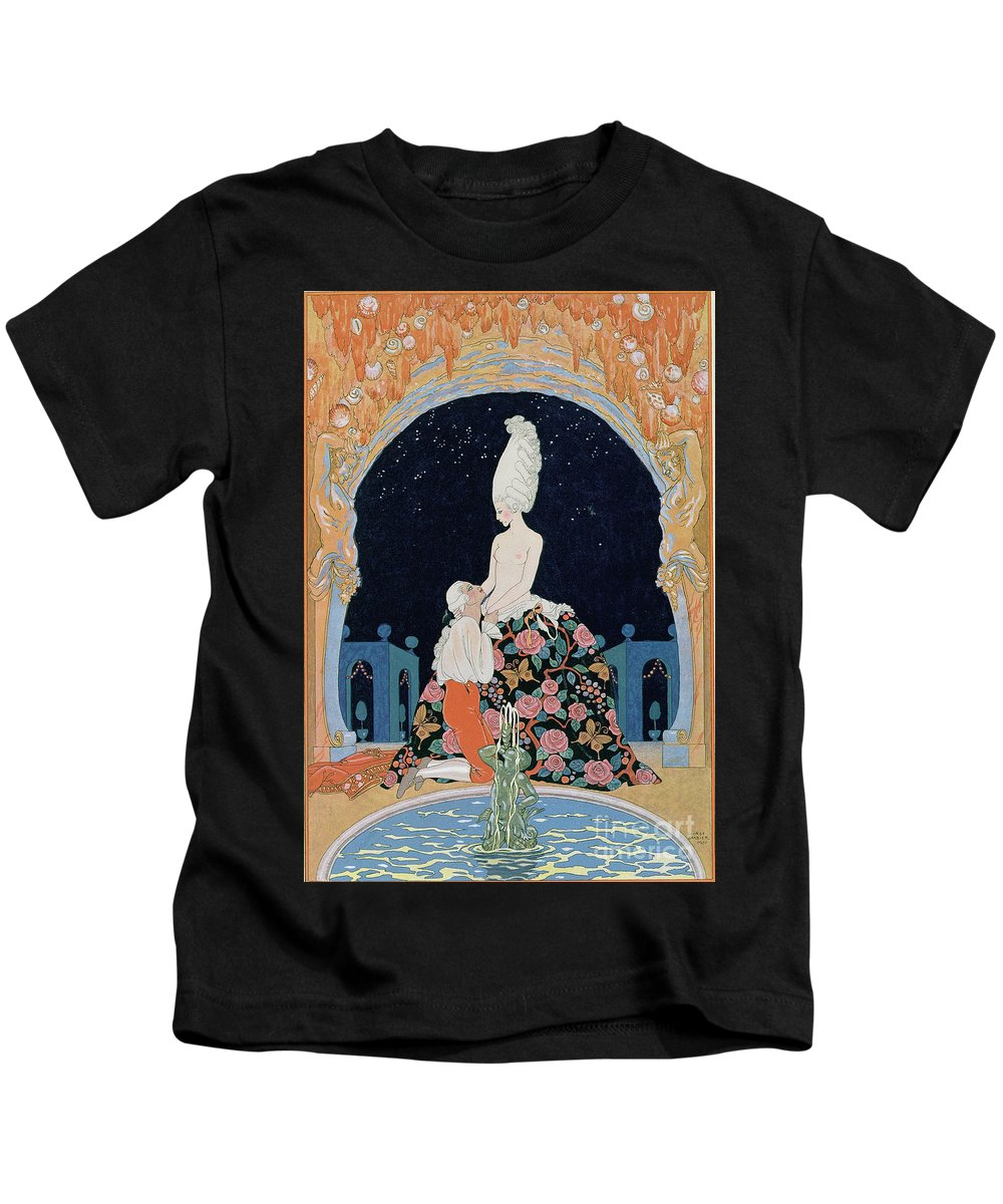 Male Kids T-Shirt featuring the painting In The Grotto by Georges Barbier