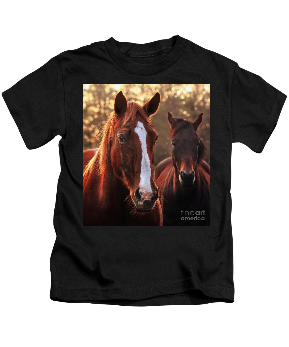 Sunset Kids T-Shirt featuring the photograph In The Last Rays Of The Sun by Angel Ciesniarska