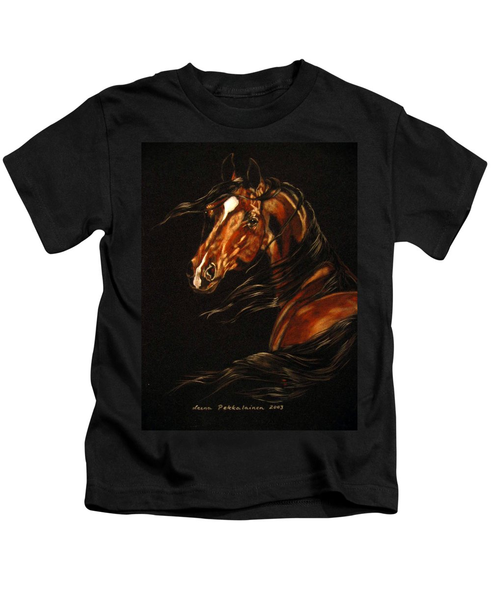 Horse Kids T-Shirt featuring the painting In The Wind by Leena Pekkalainen