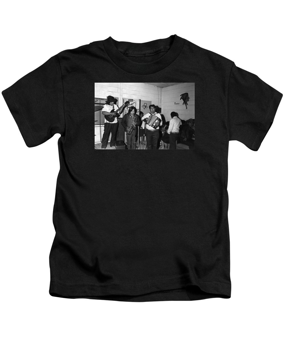 Indian Bar The Lucky Dollar Tohono O'odham Chicken Scratch Band South Tucson Arizona 1975 Kids T-Shirt featuring the photograph Indian Bar The Lucky Dollar Tohono O'odham Chicken Scratch Band South Tucson Arizona 1975 by David Lee Guss