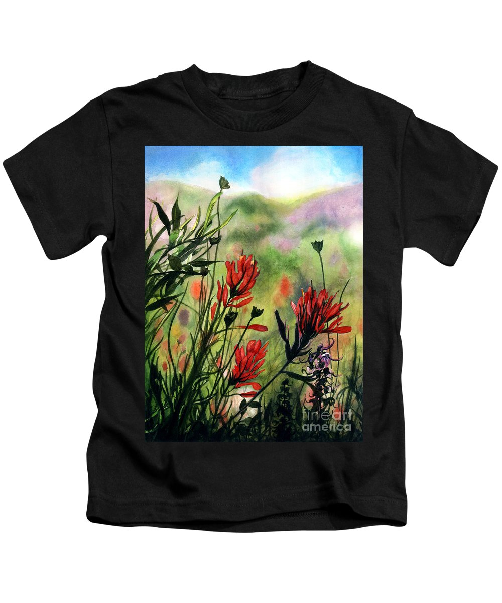 Flowers Kids T-Shirt featuring the painting Indian Paint Brush by Barbara Jewell