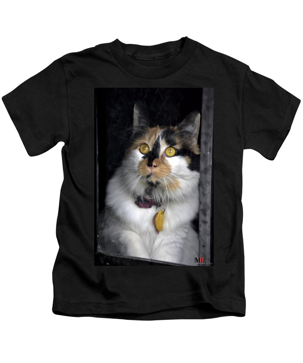 Michael Frank Jr Kids T-Shirt featuring the photograph Intense Cleo by Michael Frank Jr