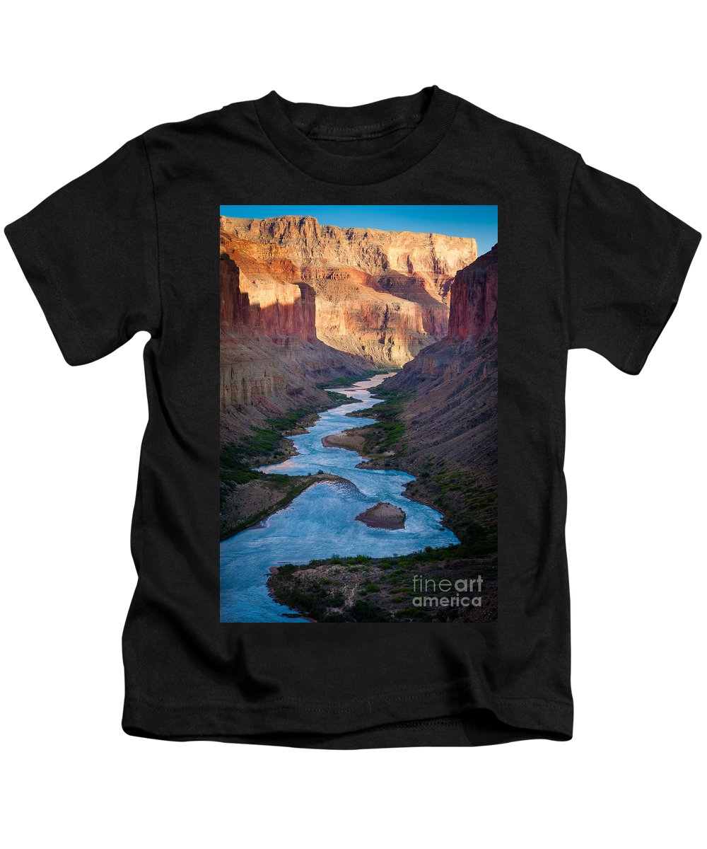America Kids T-Shirt featuring the photograph Into The Canyon by Inge Johnsson