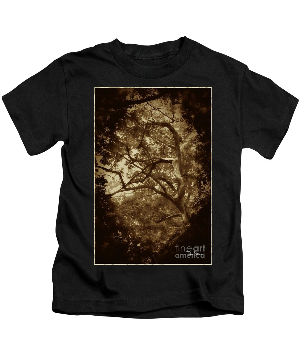 Tree Kids T-Shirt featuring the photograph Into The Dark Wood by Dan Stone