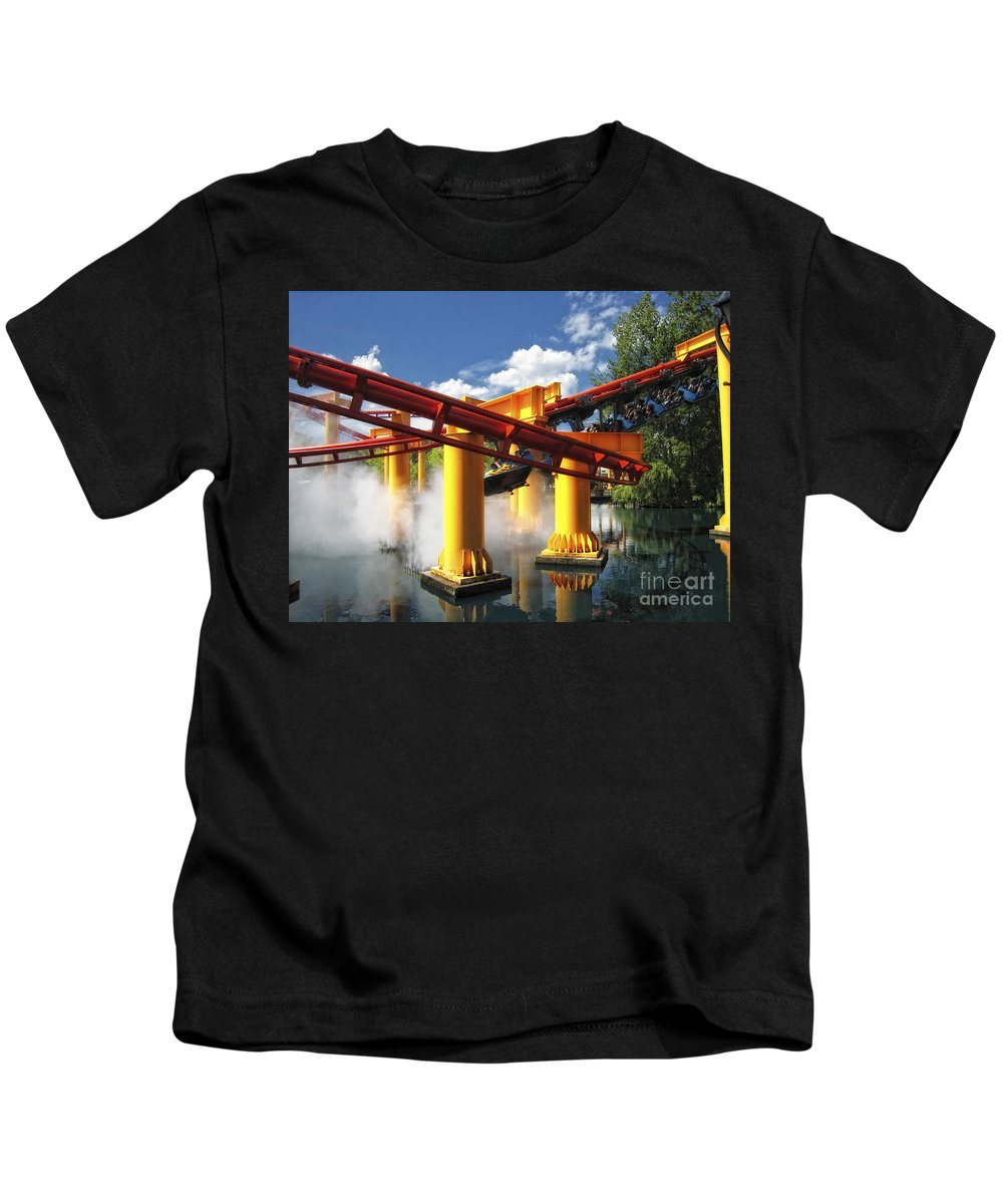 Cedar Point Kids T-Shirt featuring the photograph Iron Dragon by Timothy Hacker