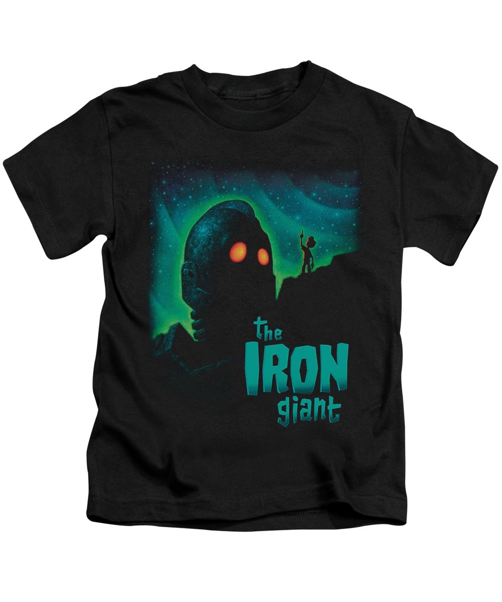 Kids T-Shirt featuring the digital art Iron Giant - Look To The Stars by Brand A