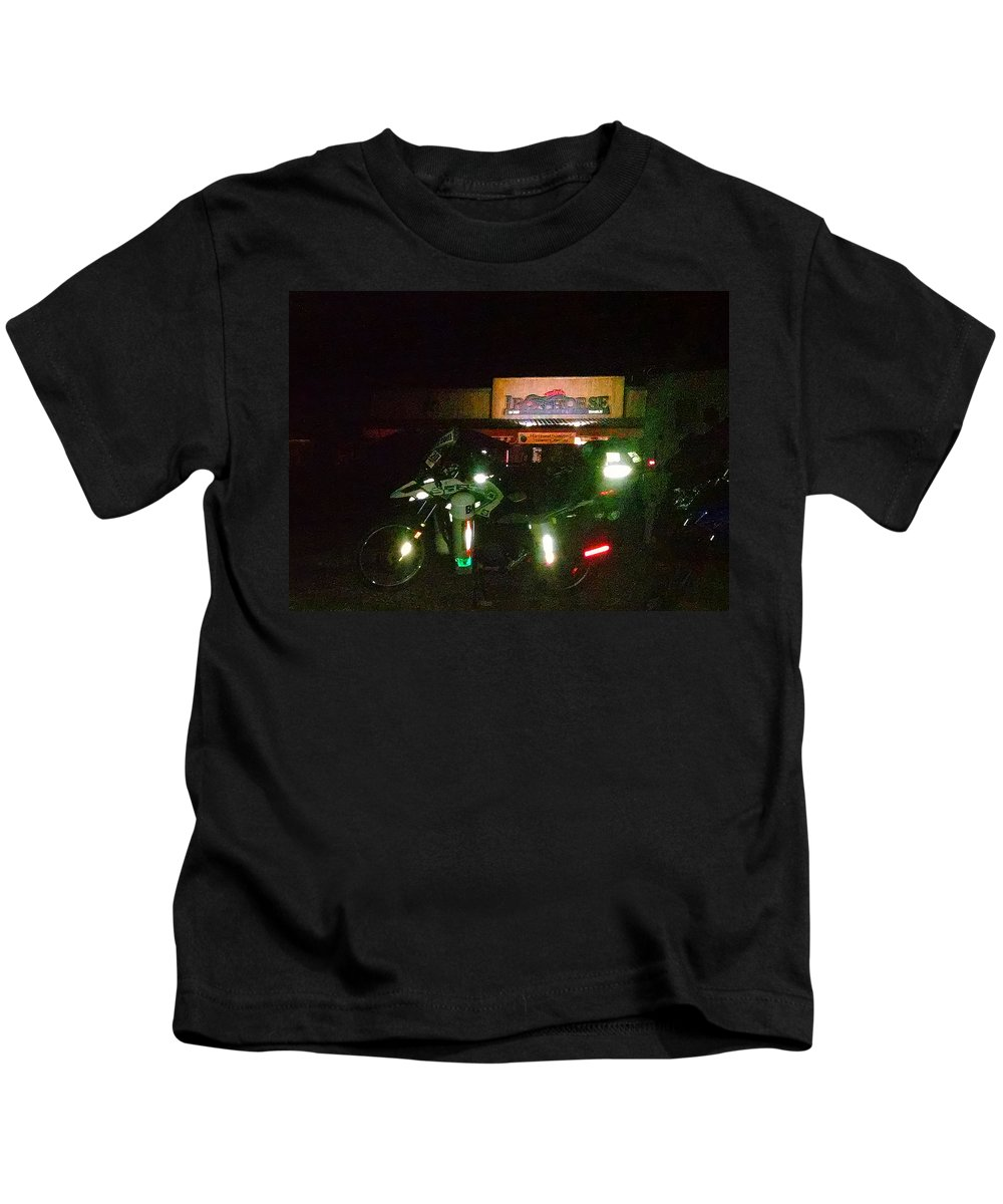 Iron Horse Lodge Resort Kids T-Shirt featuring the photograph Iron Horse Lodge Evening by Jeff Kurtz