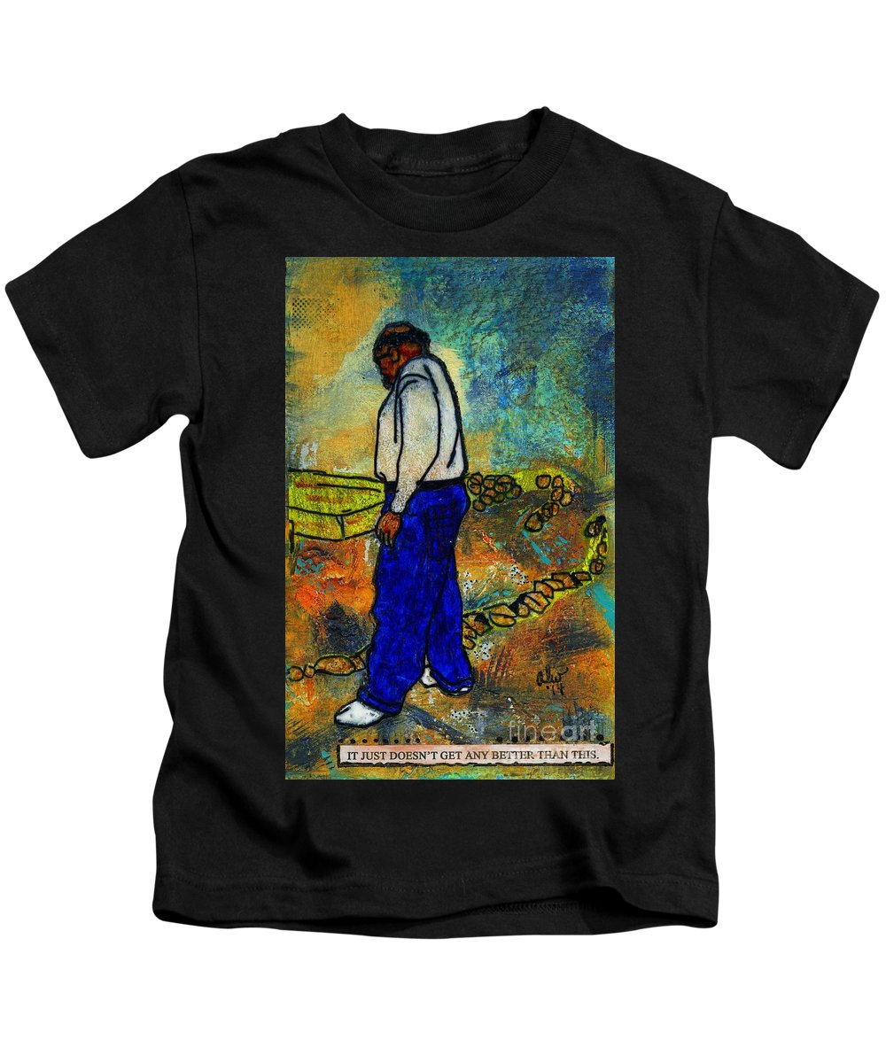 Abstract Mixed Media Kids T-Shirt featuring the mixed media It Just Doesn't Get Any Better by Angela L Walker