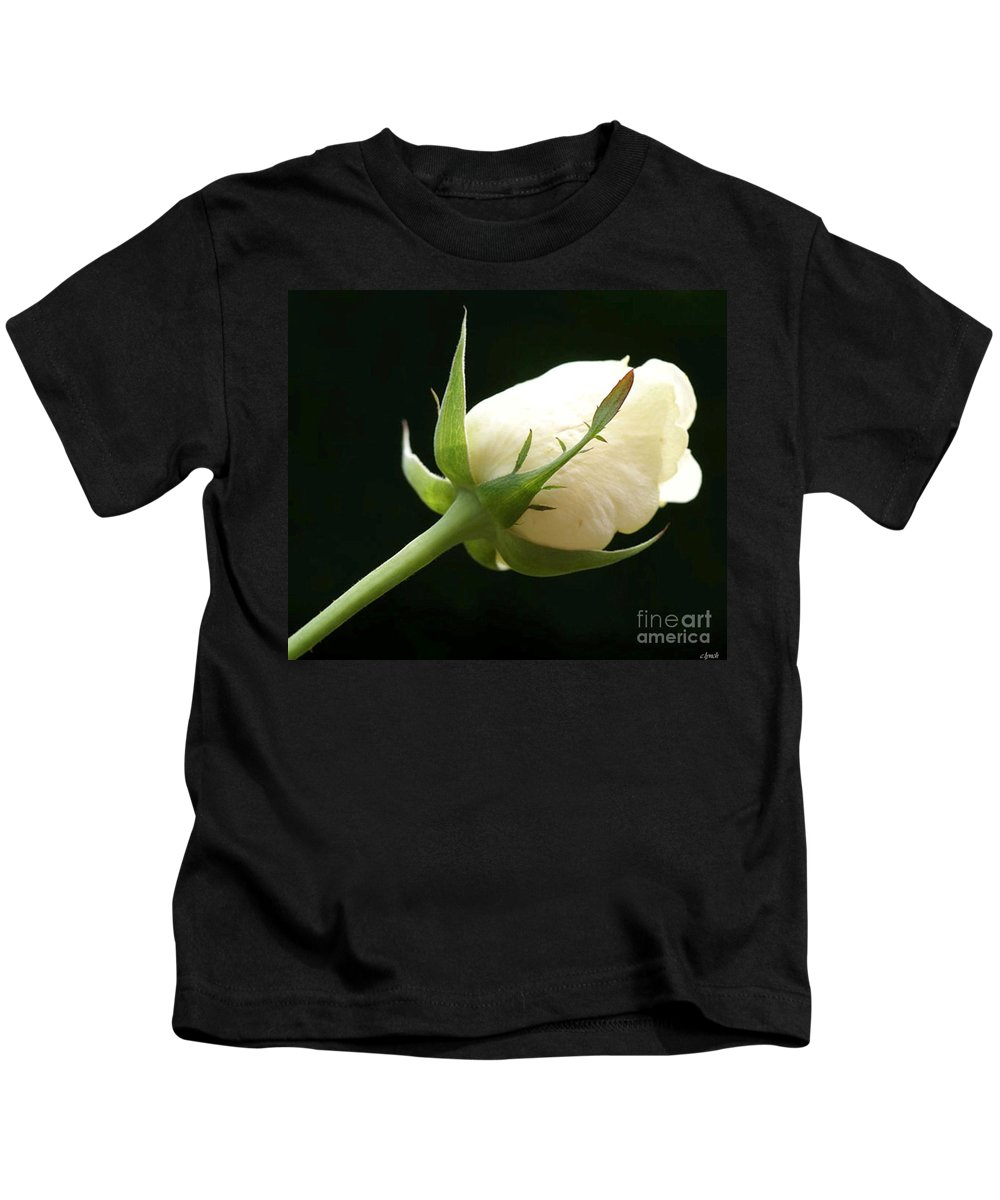Ivory Kids T-Shirt featuring the photograph Ivory Rose Bud by Carol Lynch