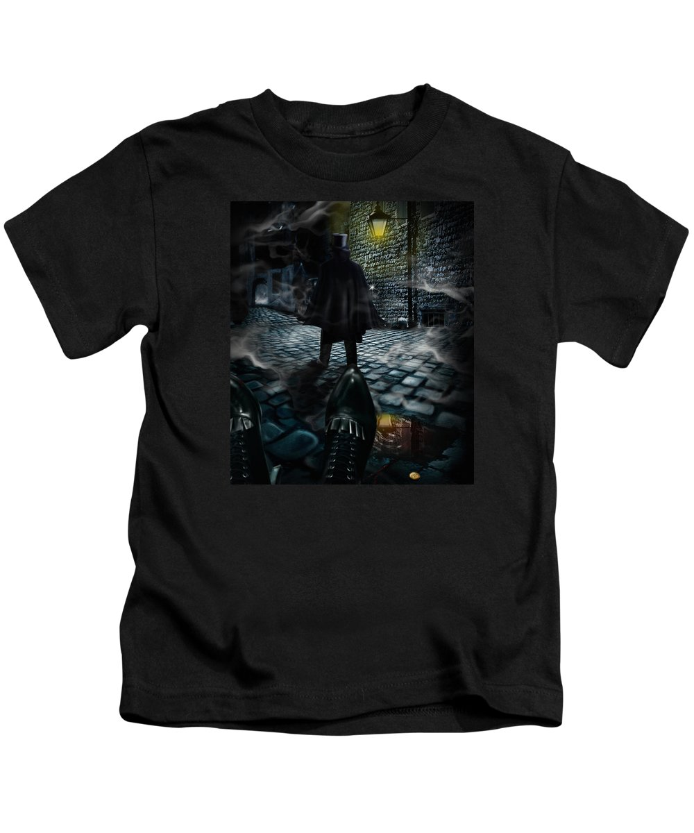 Top Hat Kids T-Shirt featuring the digital art Jack The Ripper by Alessandro Della Pietra