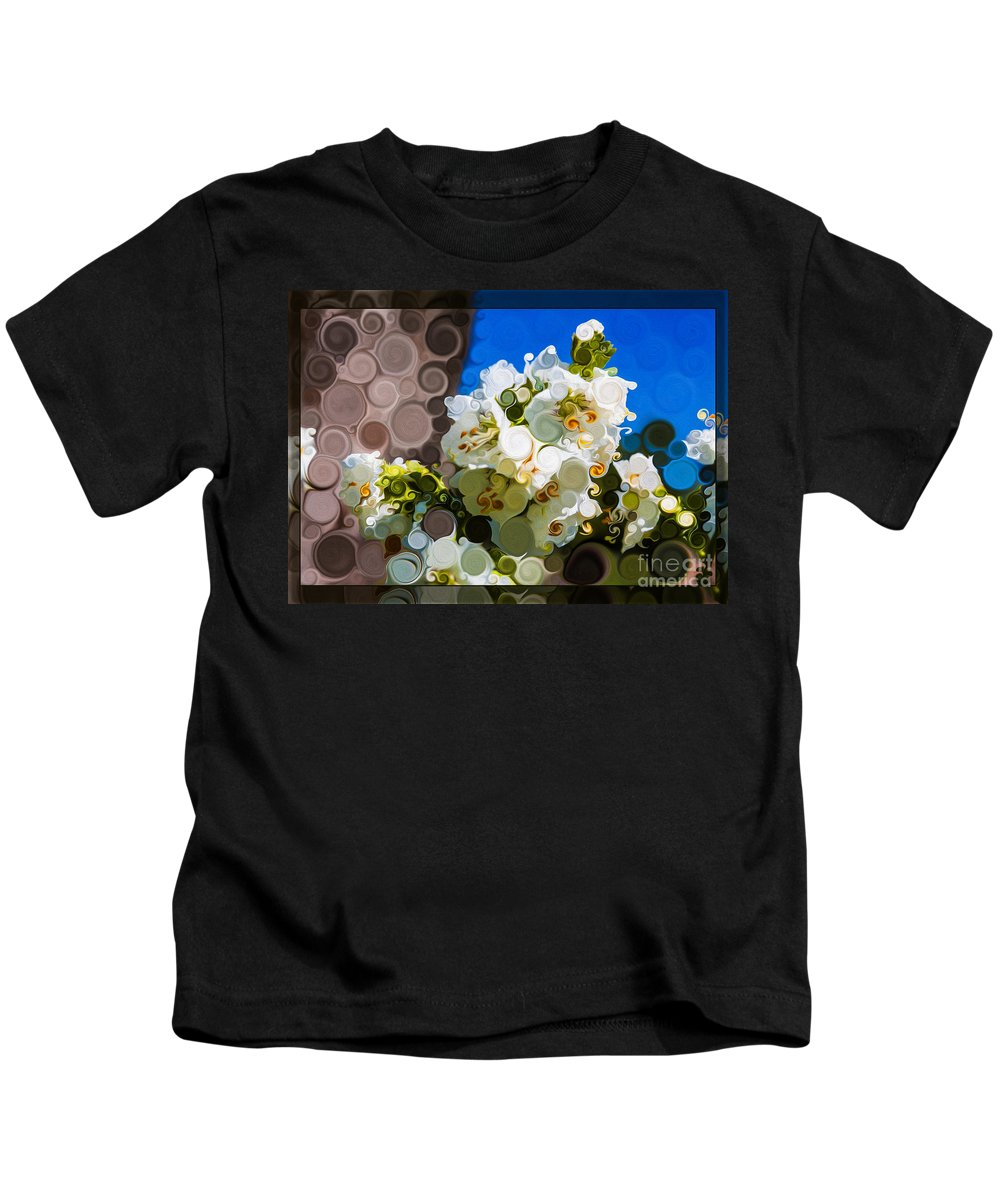 Jacobs Ladder Abstract Flower Painting Kids T-Shirt featuring the painting Jacobs Ladder Abstract Flower Painting by Omaste Witkowski