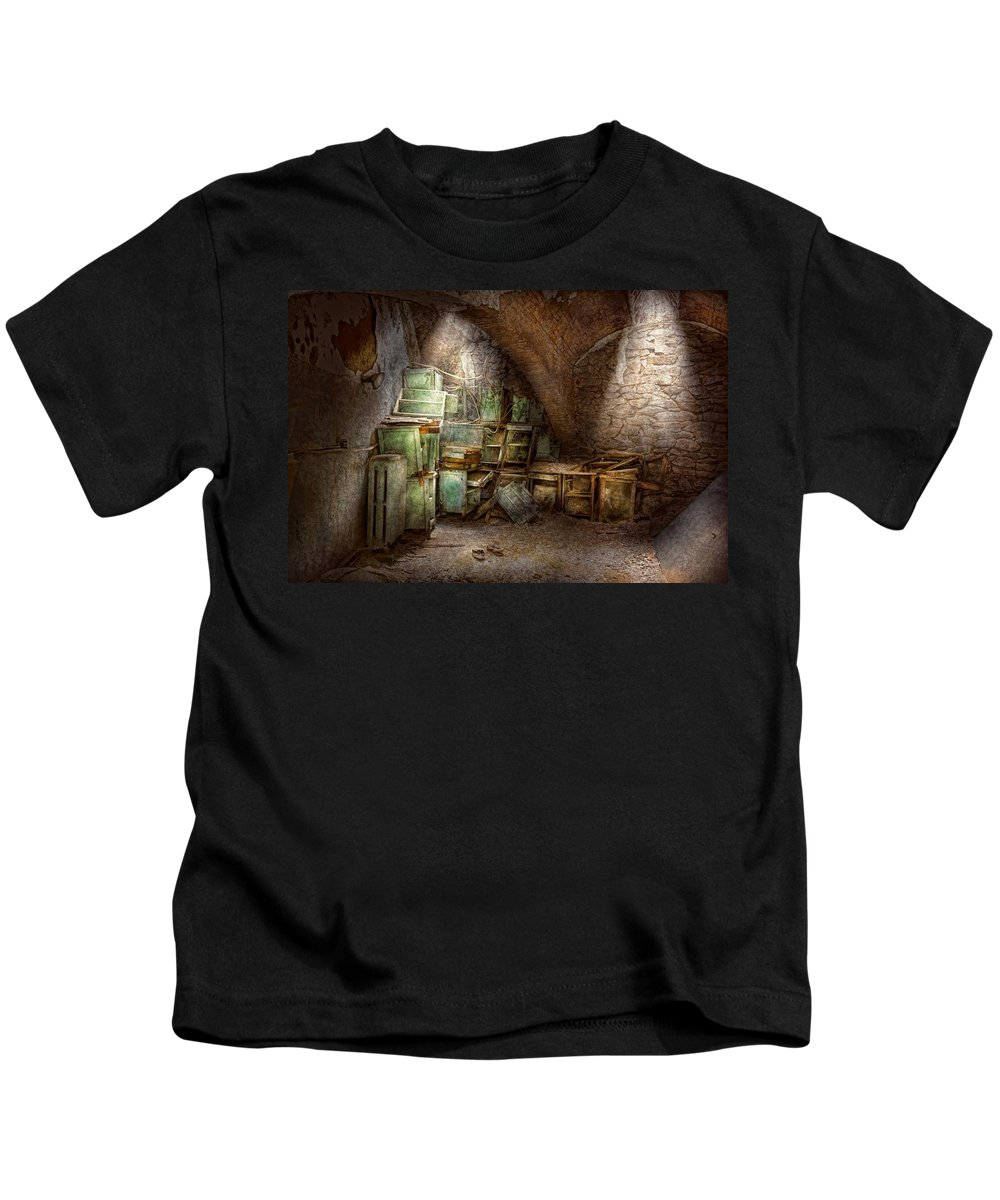 Jail Kids T-Shirt featuring the photograph Jail - Eastern State Penitentiary - Cabinet Members by Mike Savad