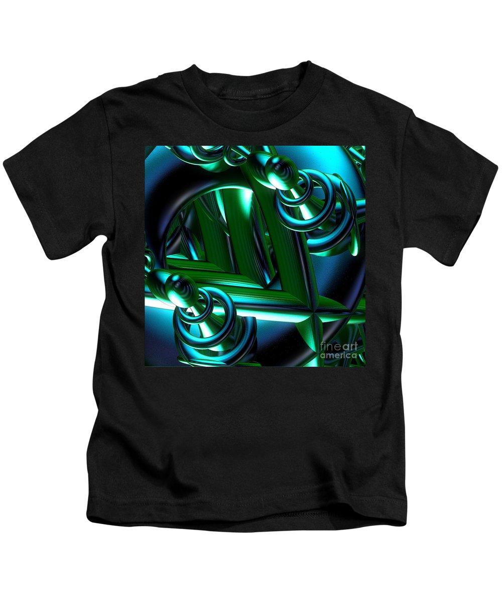 First Star Art Kids T-Shirt featuring the digital art Jammer Blue Green Flux 001 by First Star Art