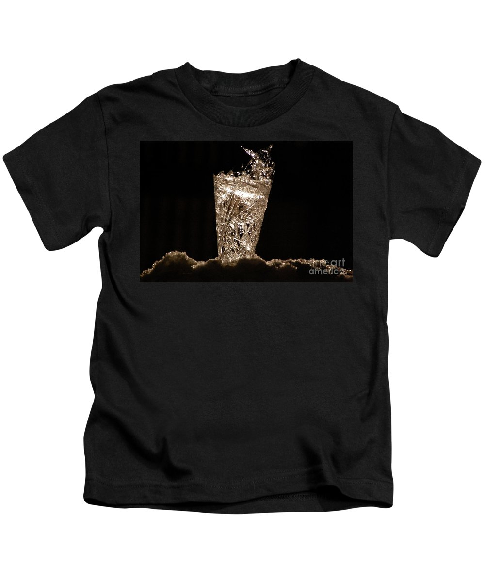 Gray Kids T-Shirt featuring the photograph Jammer Crystal Ice Torch by First Star Art