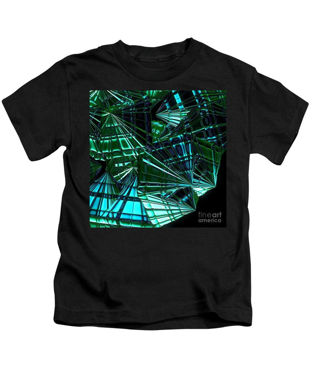 First Star Art Kids T-Shirt featuring the digital art Jammer Swirling Emeralds by First Star Art