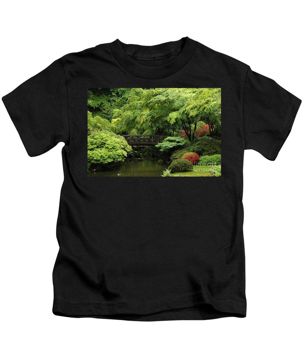 Garden Kids T-Shirt featuring the photograph Japanes Garden Reverie Portland Oregon by Mike Nellums