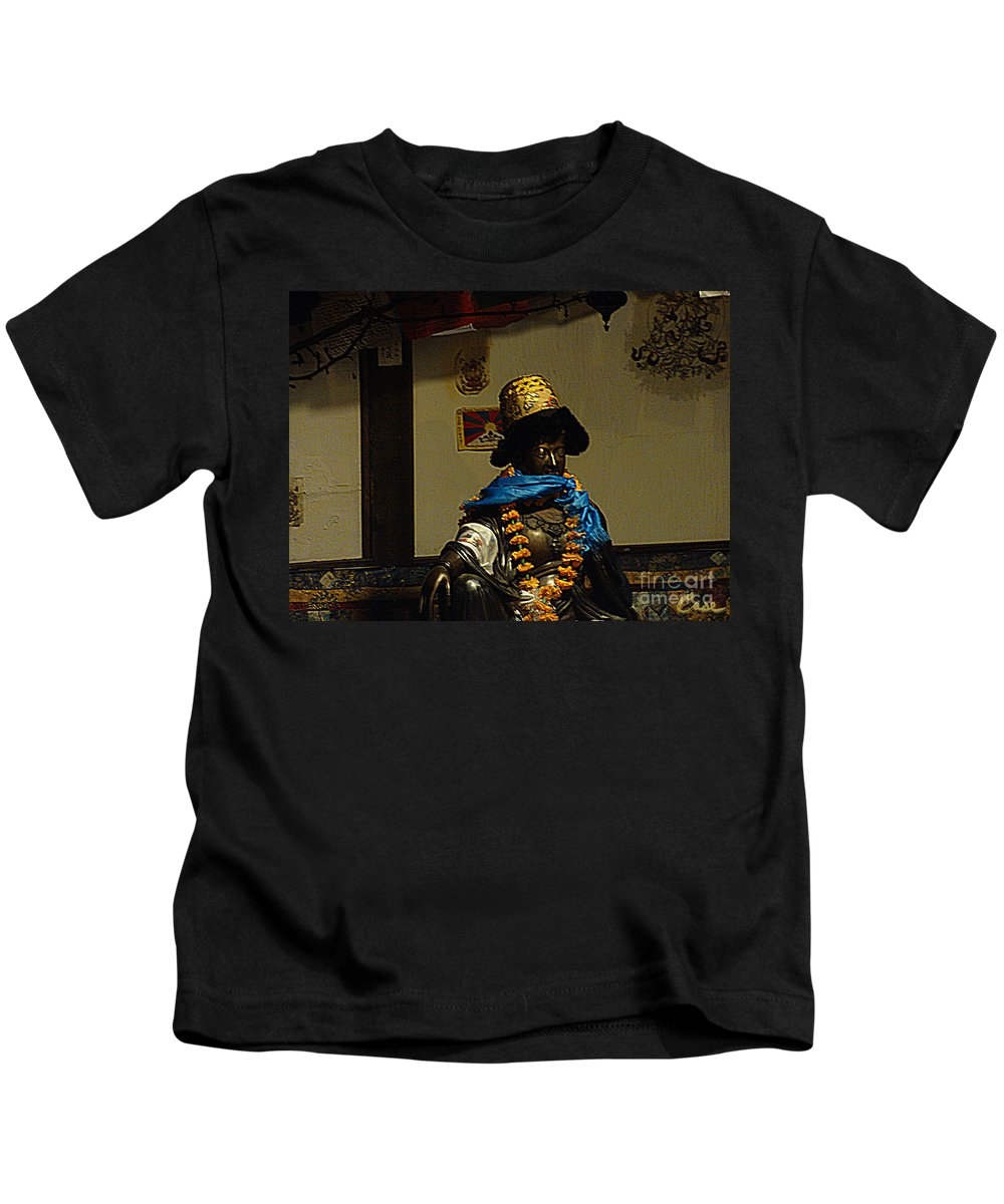Old Japanese Outdoor Home Shrine Kids T-Shirt featuring the photograph Japanese Buddhist Shrine With Bodhisattva 03 by Feile Case