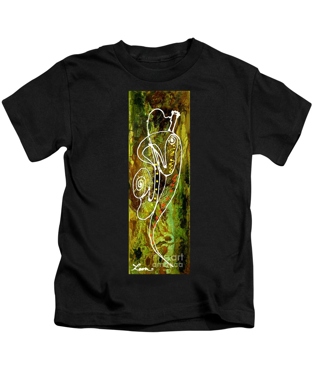 West Coast Jazz Paintings Paintings Paintings Kids T-Shirt featuring the painting Jazz 1 by Leon Zernitsky
