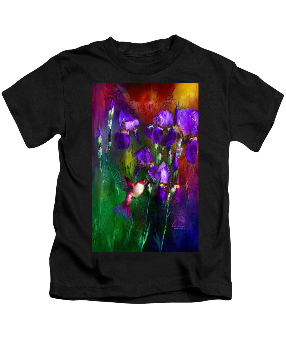 Iris Kids T-Shirt featuring the mixed media Jewels Of Summer by Carol Cavalaris