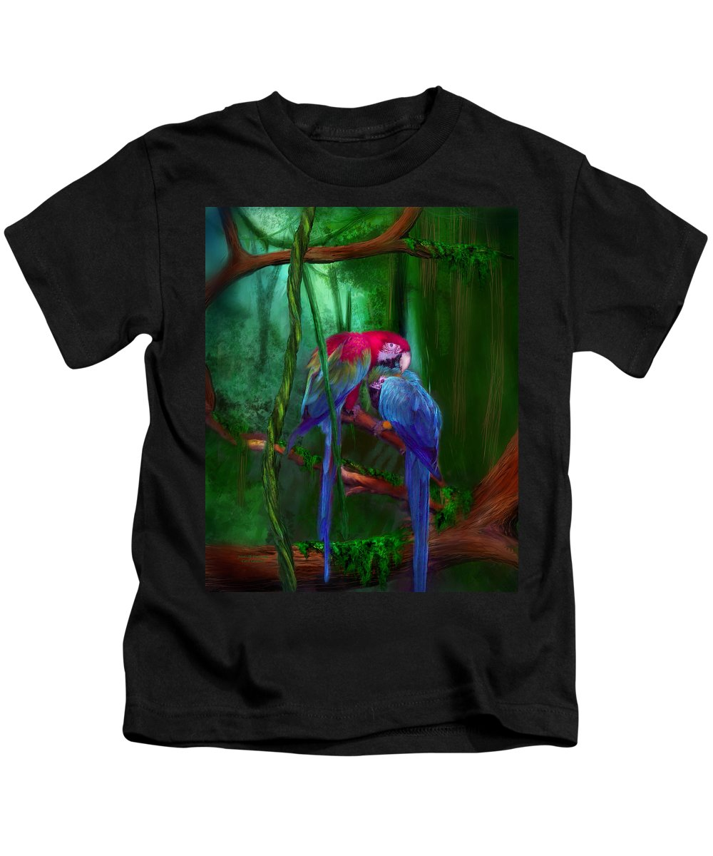 Parrot Kids T-Shirt featuring the mixed media Jewels Of The Jungle by Carol Cavalaris