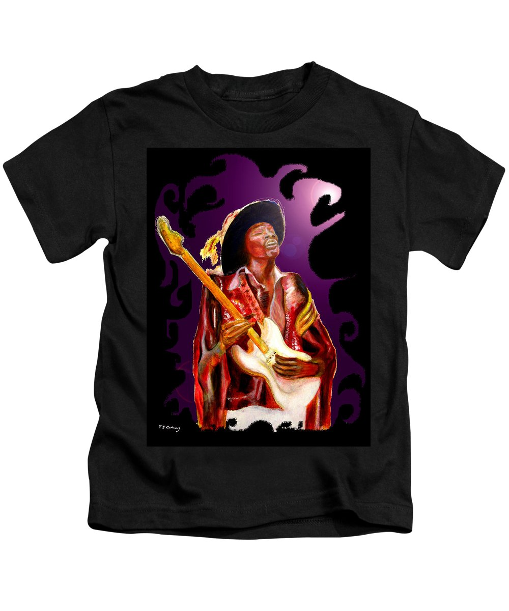 Rock Kids T-Shirt featuring the painting Jimi Hendrix Variations In Purple And Black by Tom Conway