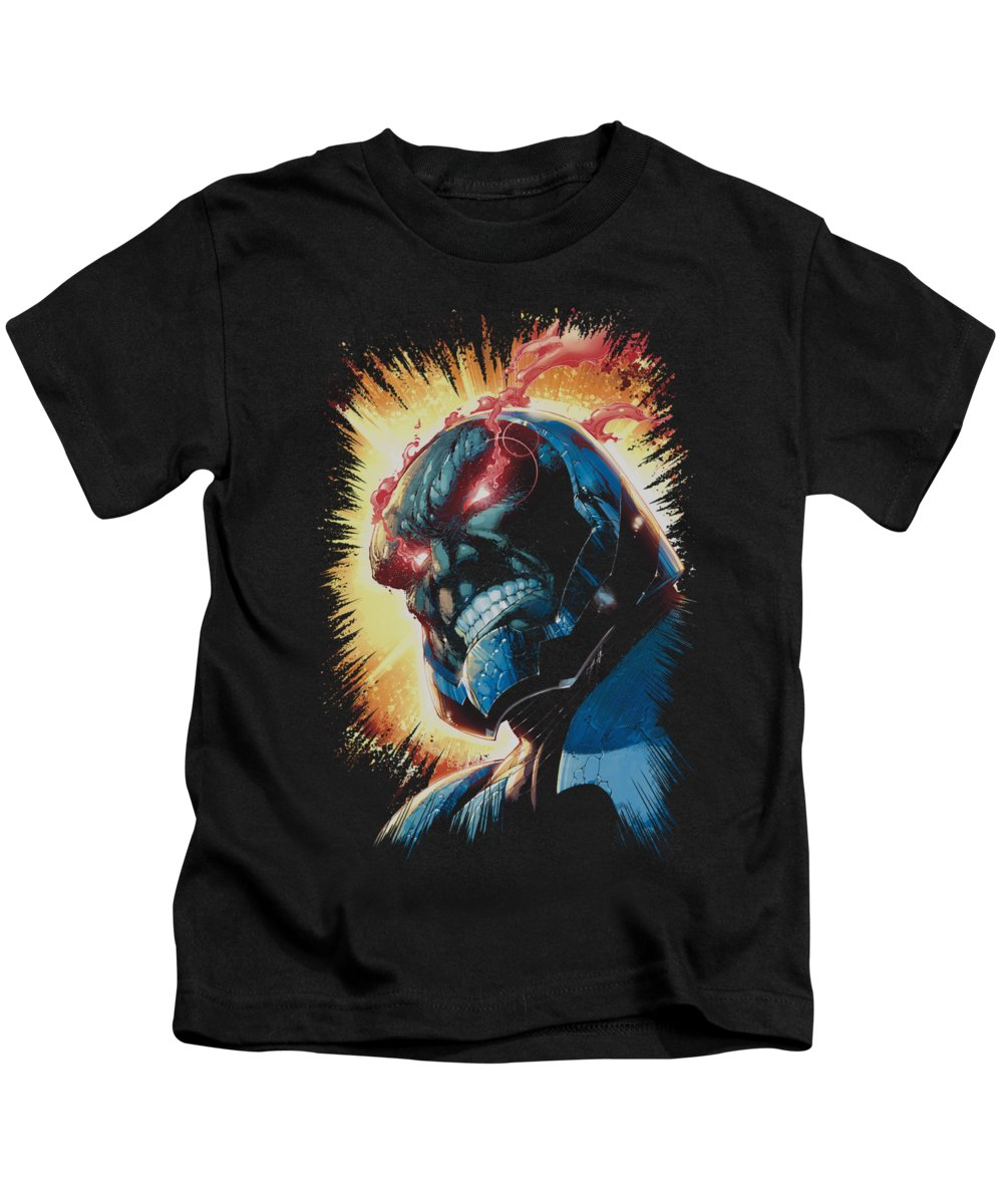 Justice League Of America Kids T-Shirt featuring the digital art Jla - Darkseid Is by Brand A