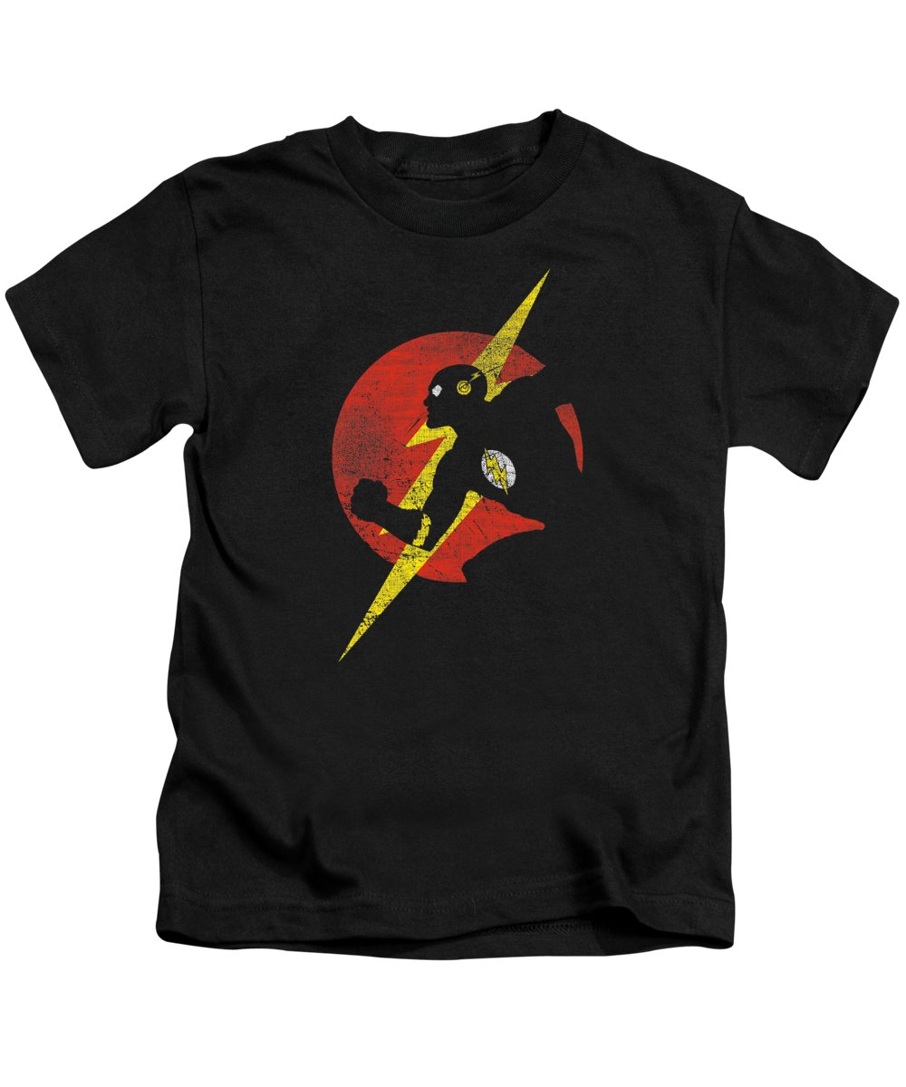Kids T-Shirt featuring the digital art Jla - Flash Symbol Knockout by Brand A