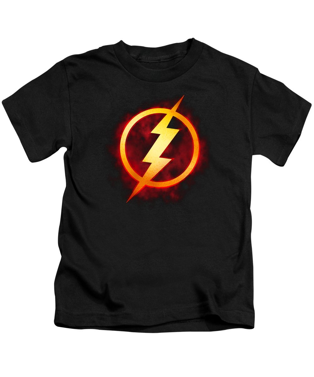 Kids T-Shirt featuring the digital art Jla - Flash Title by Brand A