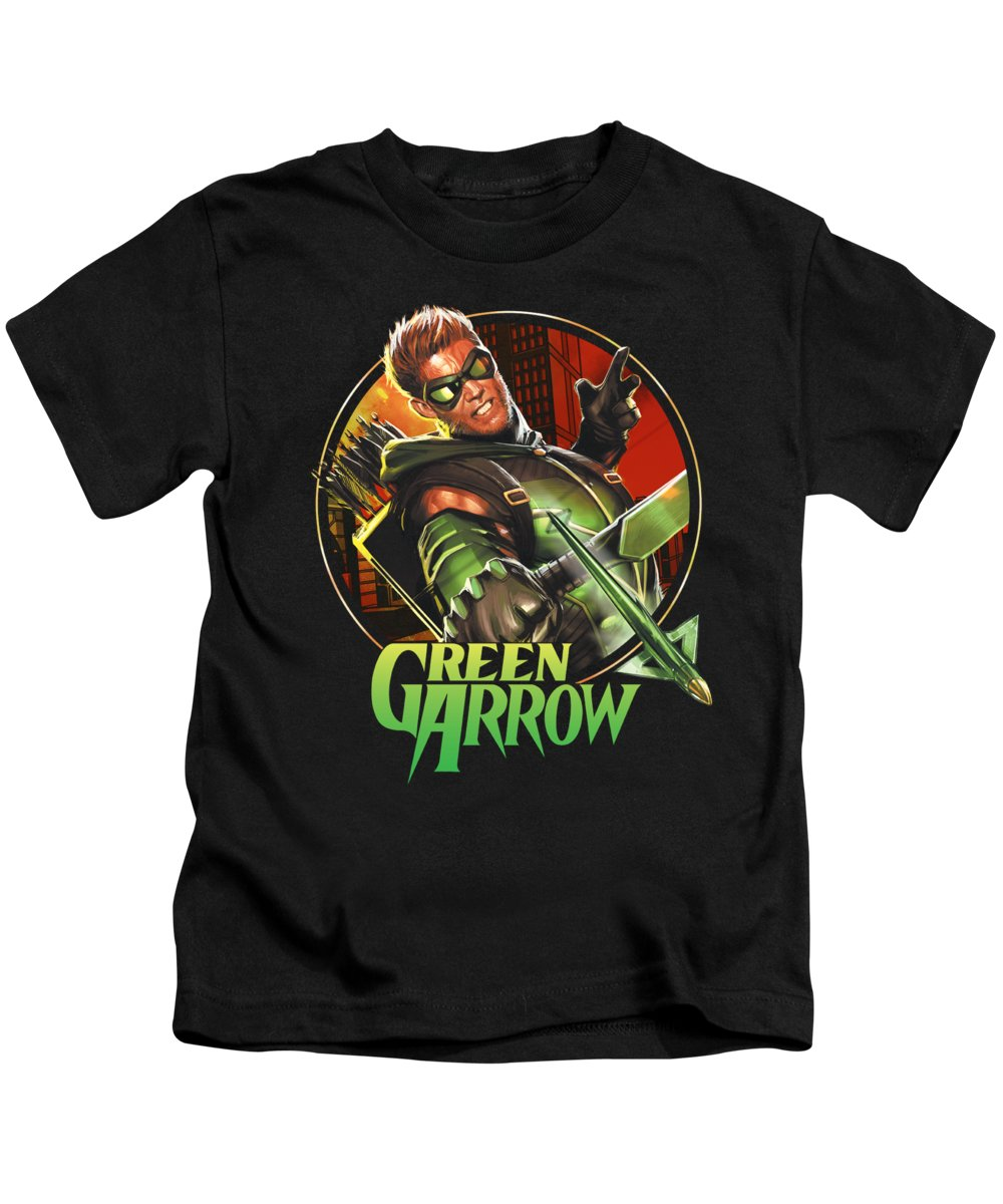 Kids T-Shirt featuring the digital art Jla - Sunset Archer by Brand A