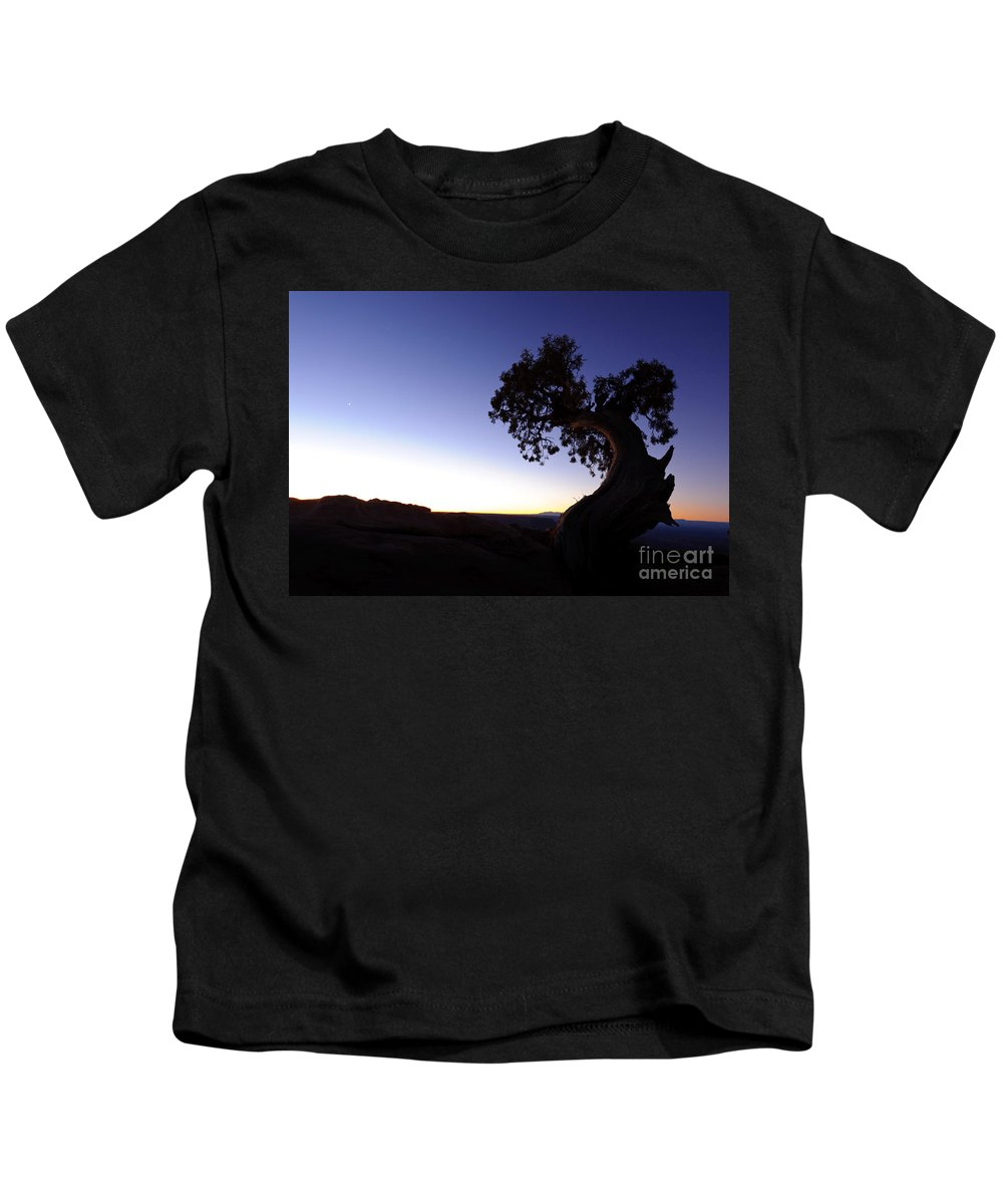Nature Kids T-Shirt featuring the photograph Juniper Tree At Dawn by John Shaw