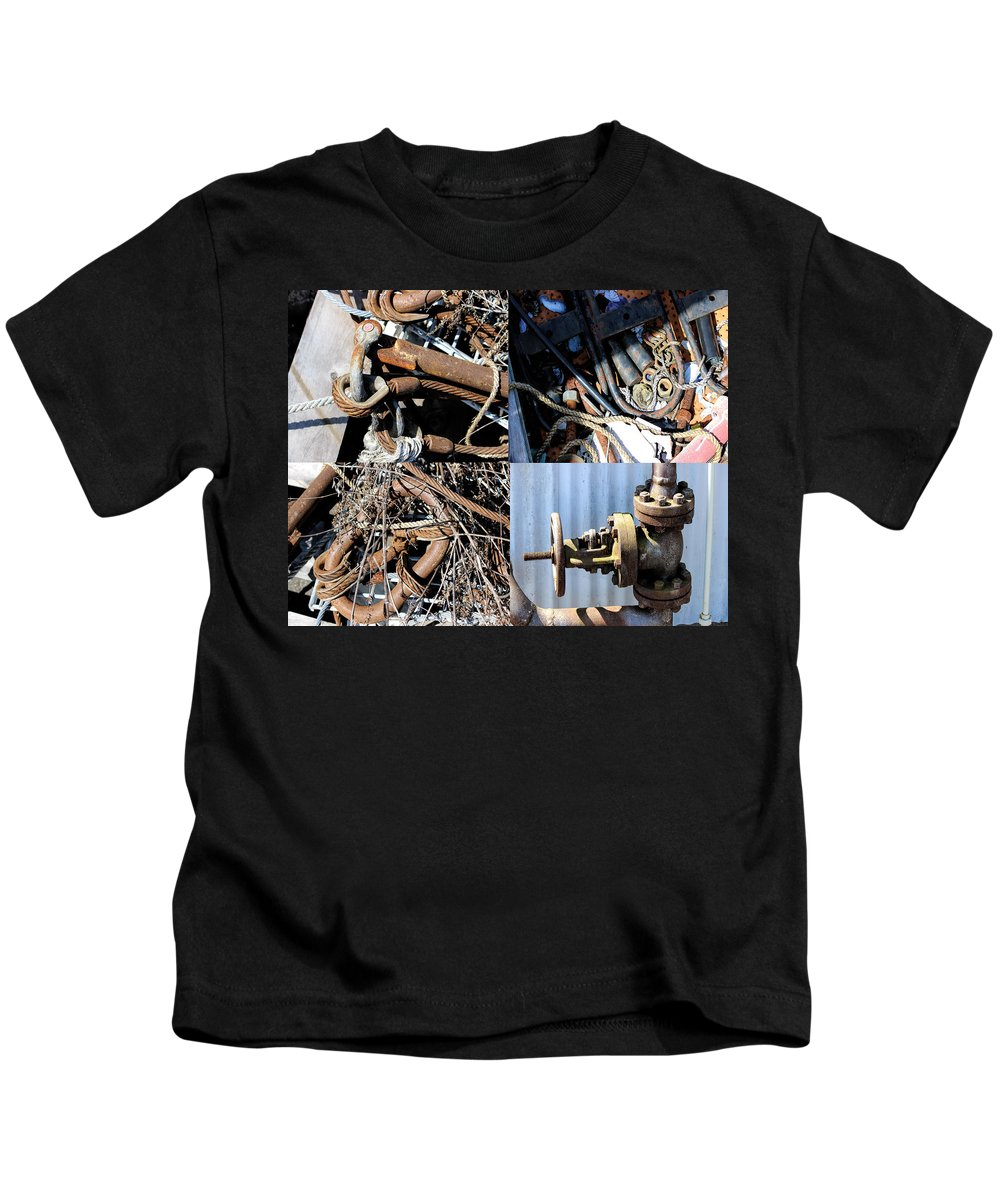 Industrial Art Kids T-Shirt featuring the digital art Junk Collage by Cathy Anderson