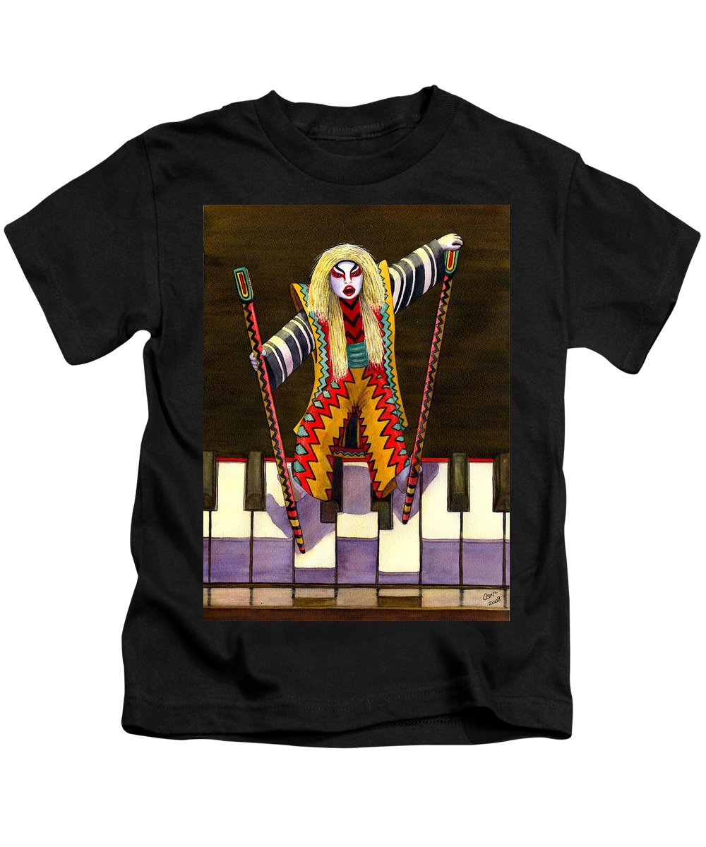 Kabuki Kids T-Shirt featuring the painting Kabuki Chopsticks 2 by Catherine G McElroy