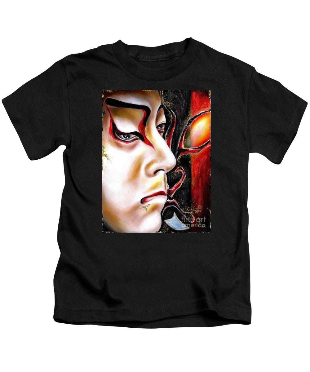 Kabuki Kids T-Shirt featuring the painting Kabuki Three by Hiroko Sakai
