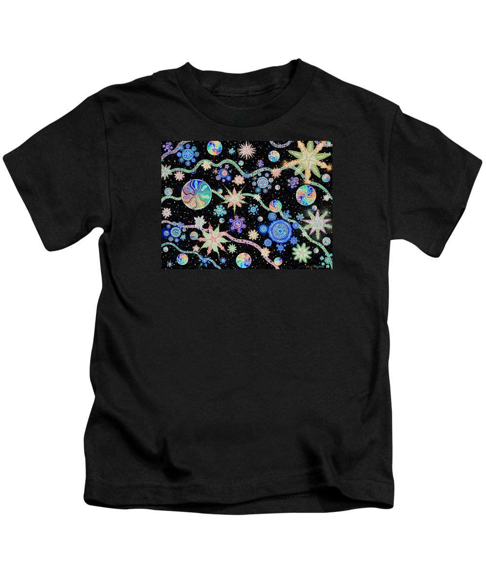 Migliore Kids T-Shirt featuring the drawing Kalafu In Space by Dave Migliore