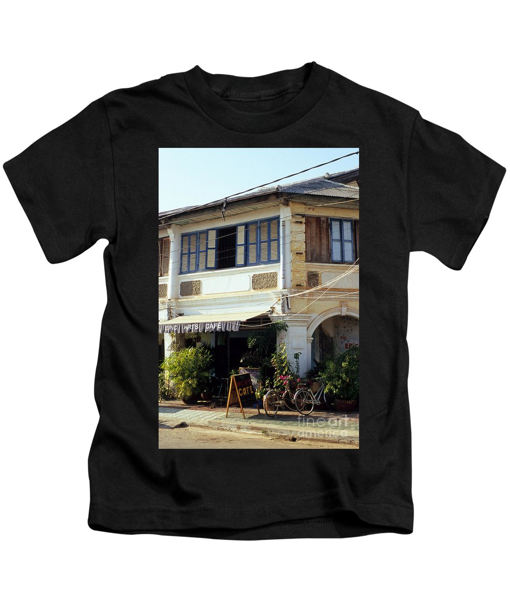 Cambodia Kids T-Shirt featuring the photograph Kampot Epic Arts Cafe by Rick Piper Photography