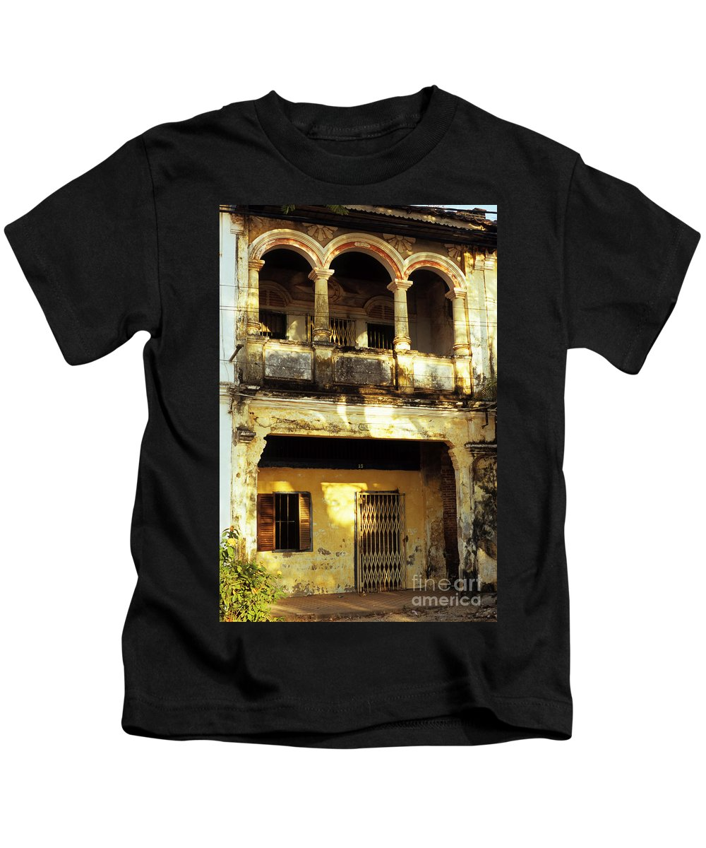 Cambodia Kids T-Shirt featuring the photograph Kampot Old Colonial 05 by Rick Piper Photography